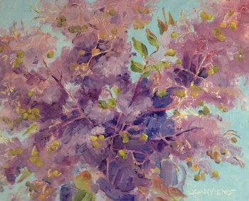 Incomplete oil painting in progress, crepe myrtle, negative painting assignment, in Julie Gilbert Pollard workshop