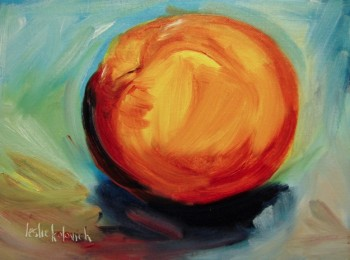 Oil painting of nectarine by Leslie Kolovich