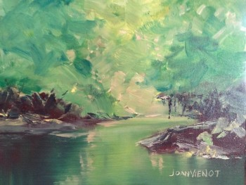 Oil painting of reflecting water scene, in Julie Gilbert Pollard workshop, second try