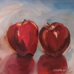Oil painting of two apples