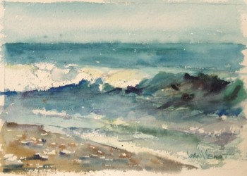 Watercolor painting of wave, in Julie Gilbert Pollard workshop