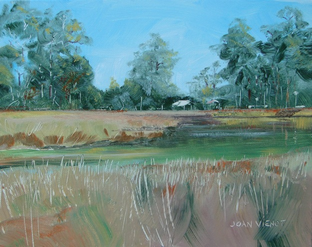 Oil painting of the view into Tucker Bayou