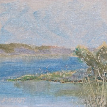 Oil painting of soft grass at edge of Hogtown Bayou
