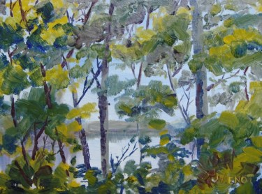 Oil painting of Apalachicola River through the trees from the bluff above