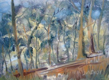 Oil painting of the hillside by the campsite overlooking the Apalachicola River