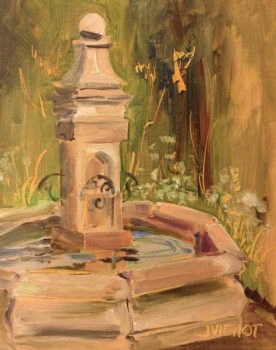 Oil painting of fountain at Grayt Grounds of Monet Monet
