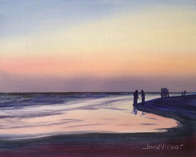 Oil painting of the Gulf of Mexico shoreline, with people silhouetted against the purple and peach-colored sunset