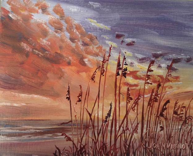 Oil painting of sea oats silhouetted against burnt-orange clouds over the Gulf of Mexico at sunset