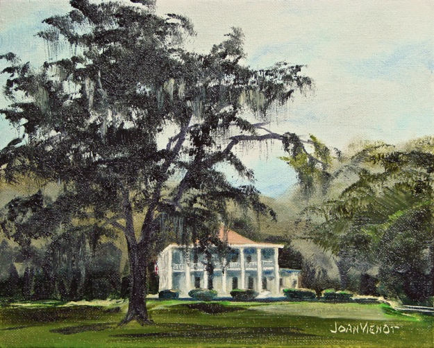Oil painting of the mansion at Eden Gardens State Park, behind the reflecting pool and a huge live oak tree