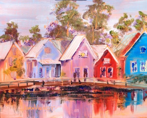 Oil painting of the shops at Baytowne in sandestin, FL, reflected in the lak