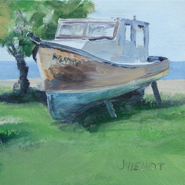 Oil painting of the old fishing boat, Pompano, at Nick's Restaurant - www.joanienot.com