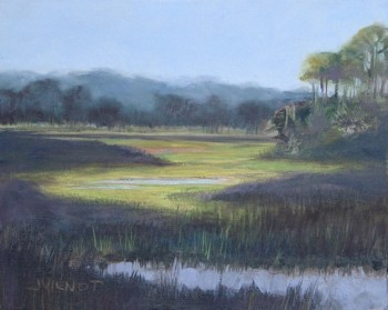 Oil painting of the marsh, crossing over onto Indian Pass peninsula, Port St. Joe, FL