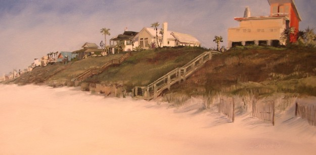 Oil painting of central Seagrove Beach westward towards Seaside, showing recently purchased empty lot