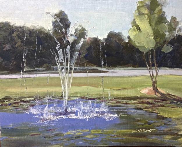 Oil painting of the fountain splashing at Mystic Port, Grayton Beach, FL