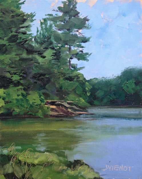 Oil painting of the lake at Oak Mountain State Park, Birmingham, AL