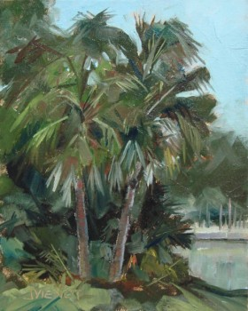 Oil painting of two palm trees at Eden Gardens State Park