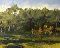 Oil painting of the marsh and trees of Camp Creek Lake, with short cypress turning orange in the fall