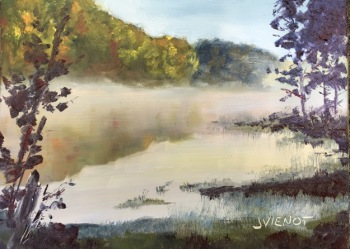 Plein air oil painting of mist rising from Beaver Lake at Oak Mountain State Park