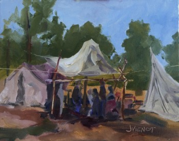 Plein air oil painting of a frontier encampment, an educational display at the 2015 Florida Chautauqua assembly