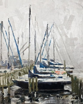 Painting of the sailboats in the fog at Oak Marina in Niceville, FL