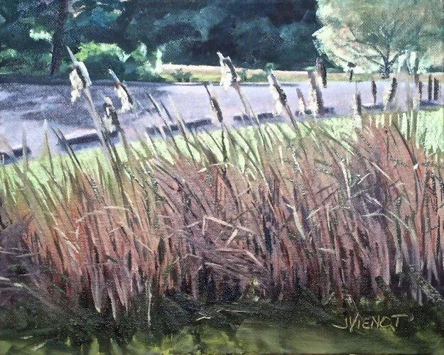 Plein air oil painting of backlit cattails gone to seed, at Cessna Landing on Hogtown Bayou, Santa Rosa Beach, FL