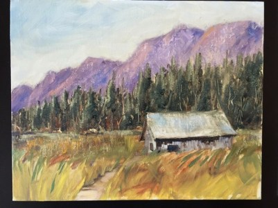 Oil painting of rustic cabin in front of mountains, technique exercise painted in Kathie Odom workshop, May, 2015
