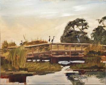 Plein air oil painting of the herons on the bridge at Veteran's Park, Okaloosa Island, Fort Walton Beach, Florida