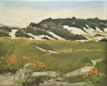 Plein air oil painting of Indian Blanketflower at Grayton Beach State Park