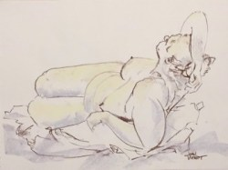 Warm-up drawing of large female nude lying twisted with elbow overhead