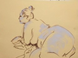 Warm-up sketch of large female nude propped on elbows