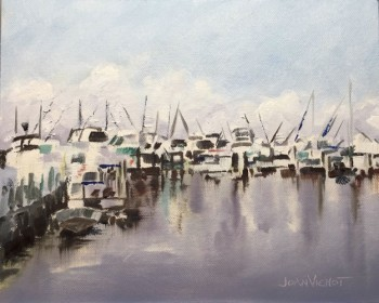 Oil painting of the docked boats at Sandestin's Baytowne Marina, Miramar Beach, FL