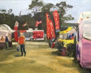 Oil painting of the food vendors and festival-goers at Destin Festival of the Arts, 2015