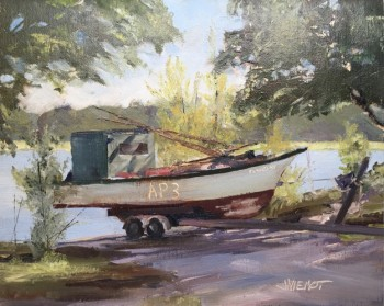 Oil painting of a trailered oyster boat on shady private launch