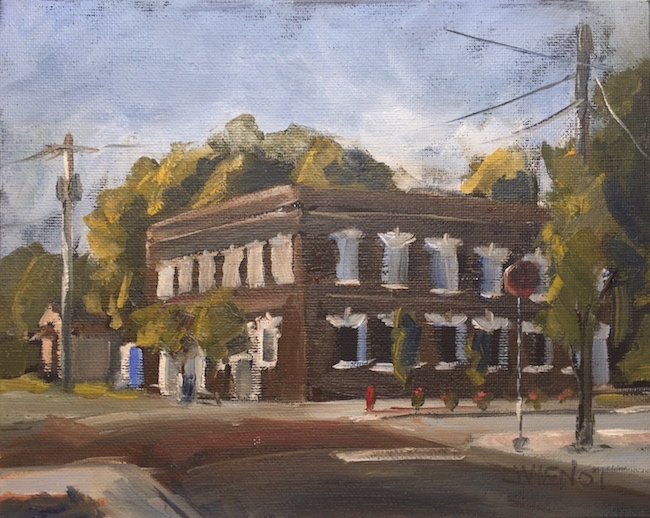 Oil painting o Lynn Haven Bank & Trust, painted early morning en plein air for TV publicity for Local Color Plein Air Festival 2015