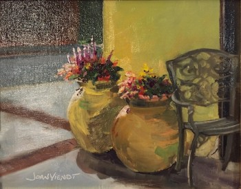 Oil painting of the light edging the potted flowers outside Victoria's Restaurant, Lynn Haven Florida, winner of People's Choice Best in Show at Local Color Plein Air Festival