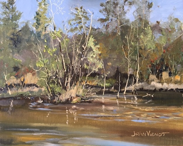 Oil painting of Turkey Creek in Niceville, Florida, in the fall, 1/4 mile up the boardwalk