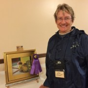 Joan Vienot with People's Choice Best in Show award at Local Color Plein Air Festival, Lynn Haven, FL,November 14, 2015