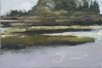 Oil painting of the marsh from Salina Park, Cape San Blas, Port St. Joe, FL