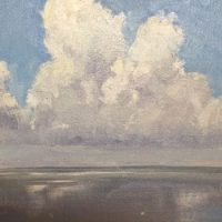 Oil painting of cumulus clouds over the Choctawhatchee Bay, from Nick's Restaurant; 2nd of 3