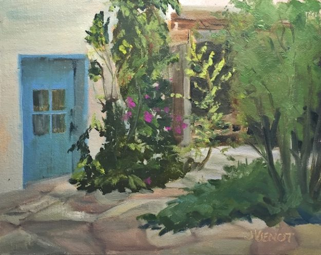 Oil painting of the very short blue door and the courtyard path in the Taos Art Supply courtyard, Taos, NM