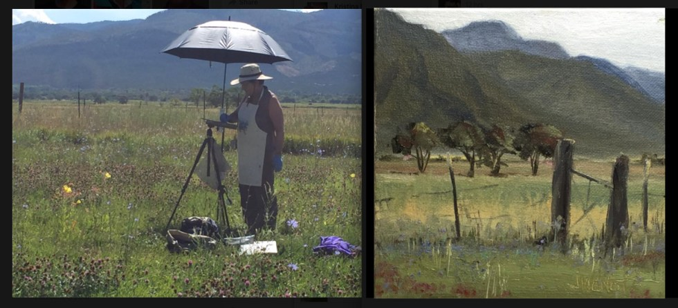 Photo of Joan Viewnot painting, by Morgan Samuel Price at MSP workshop in Taos, NM, August, 2016. At right is the painting Joan was working on: https://joanvienotart.wpengine.com/galleries/landscape/attachment/2016-0817-taos-storm-coming