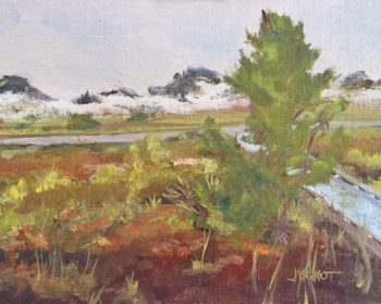 Oil painting of the colorful foreground brush on a rainy day at Grayton Beach State Park in Florida