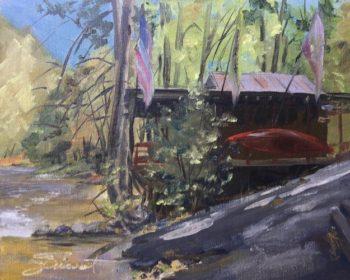 Oil painting of the pizza shack on the Nantahala River, North Carolina