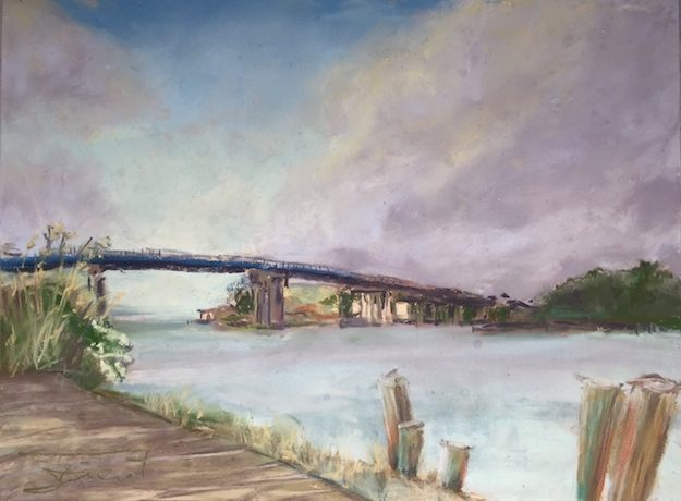 Soft pastels painting of Brooks Bridge from The Gulf Restaurant on Okaloosa Island, painted en plein air, looking towards Ft. Walton Beach, FL