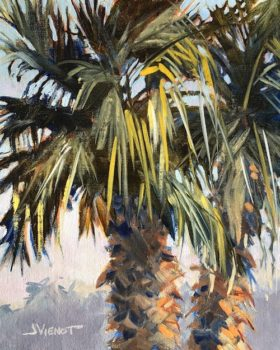 Oil painting of late light on two palms at Grayton Beach, FL, from Pat's yard