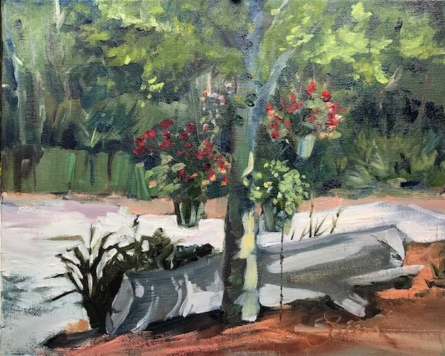 Oil painting of hanging impatiens at Clay30A nursery and gift shop, Seagrove Beach, FL