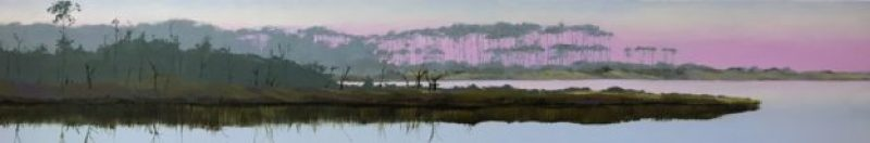 """Oil painting of the """"umbrella trees"""" at Western Lake in Grayton Beach, FL, at dawn, a commissioned work 8""""x48"""""""