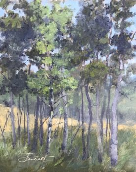 Oil painting of a grove of aspen trees near Estes Park, Colorado