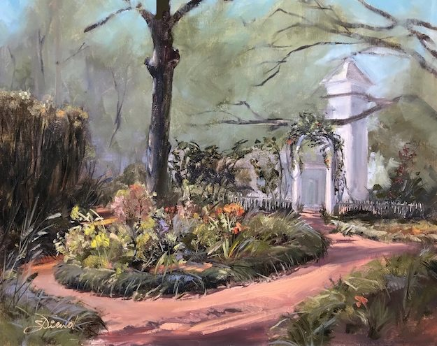 Oil painting of the flower garden outside the library in DeFuniak Springs, FL