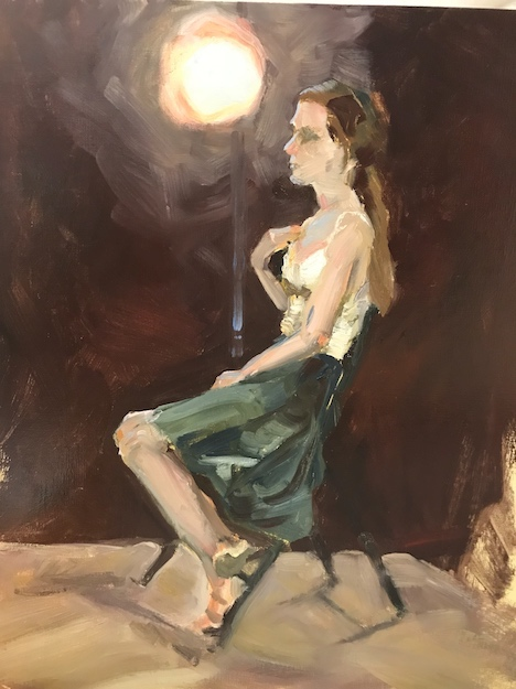 Oil painting of young woman posing under a spotlight